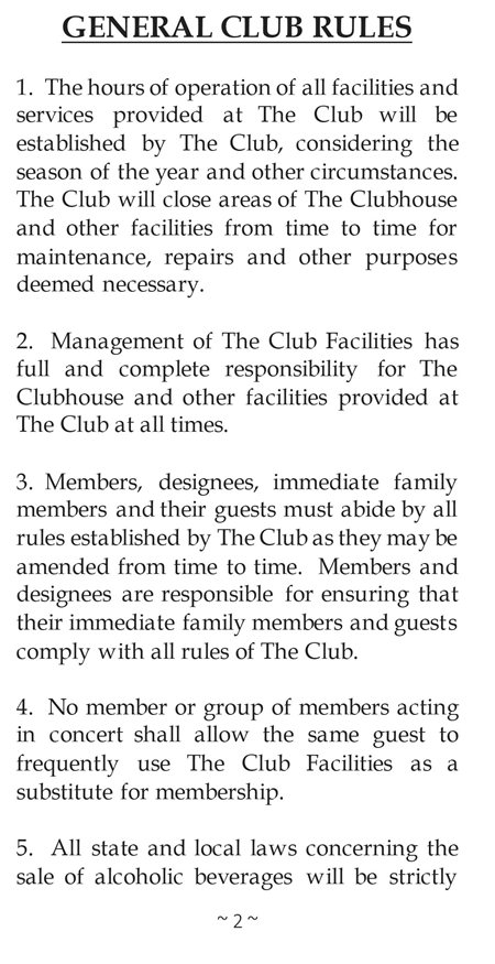 Country Club Of Leawood Leawood Ks Rules And Regulations